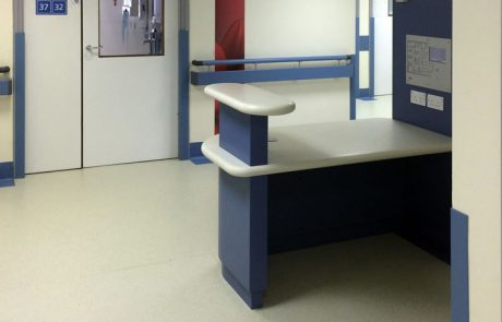 Hygienic flooring for nurses station for Barnsley District General Hospital