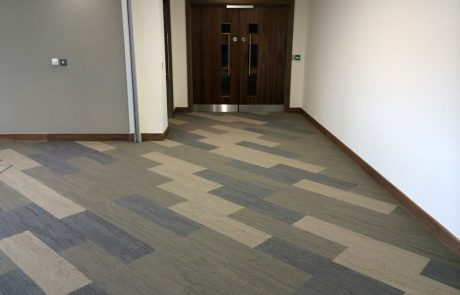 New build office at AMP- carpet tile planks