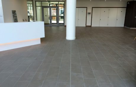 ceramic porcelain tiles in new build office
