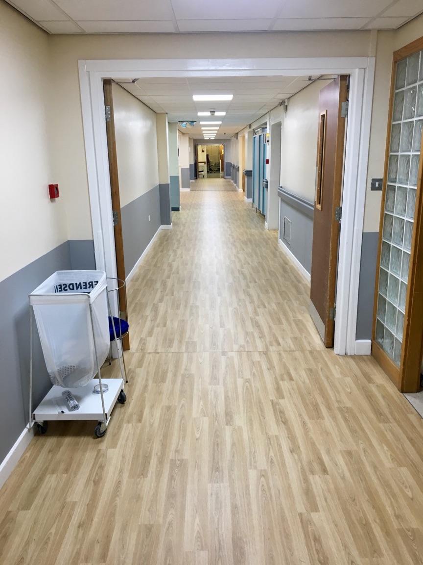 Vinyl flooring for X-Ray corridor at Rotherham District General Hospital