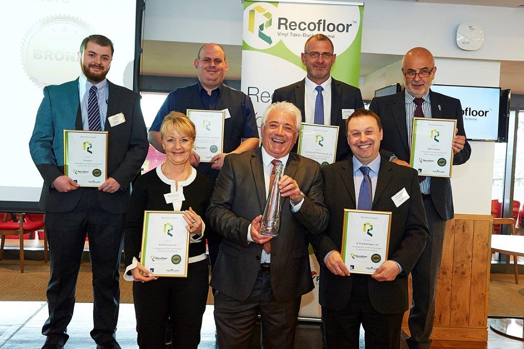 A Cumberlidge at the Recofloor Awards 2018 - Andrew Reeves collects the Bronze award from Kevin Keegan