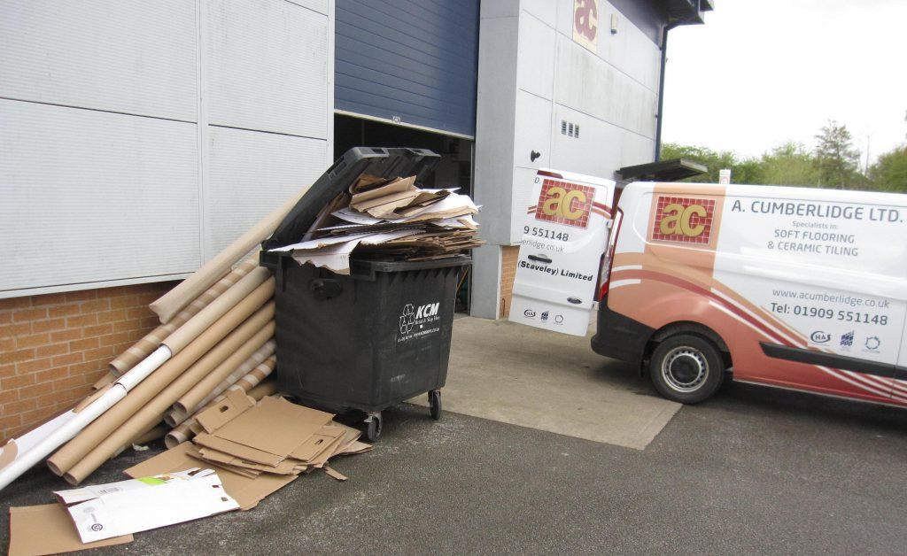 Cardboard recycling at A Cumberlidge