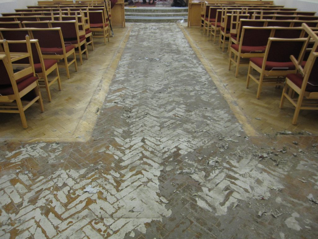 Ardsley Crematorium. A Cumberlidge removed the existing floor covering and prepared the surface.