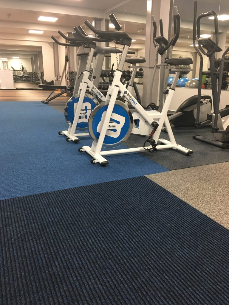 Hard-wearing carpet tiles at Platinum Health & Fitness Centre
