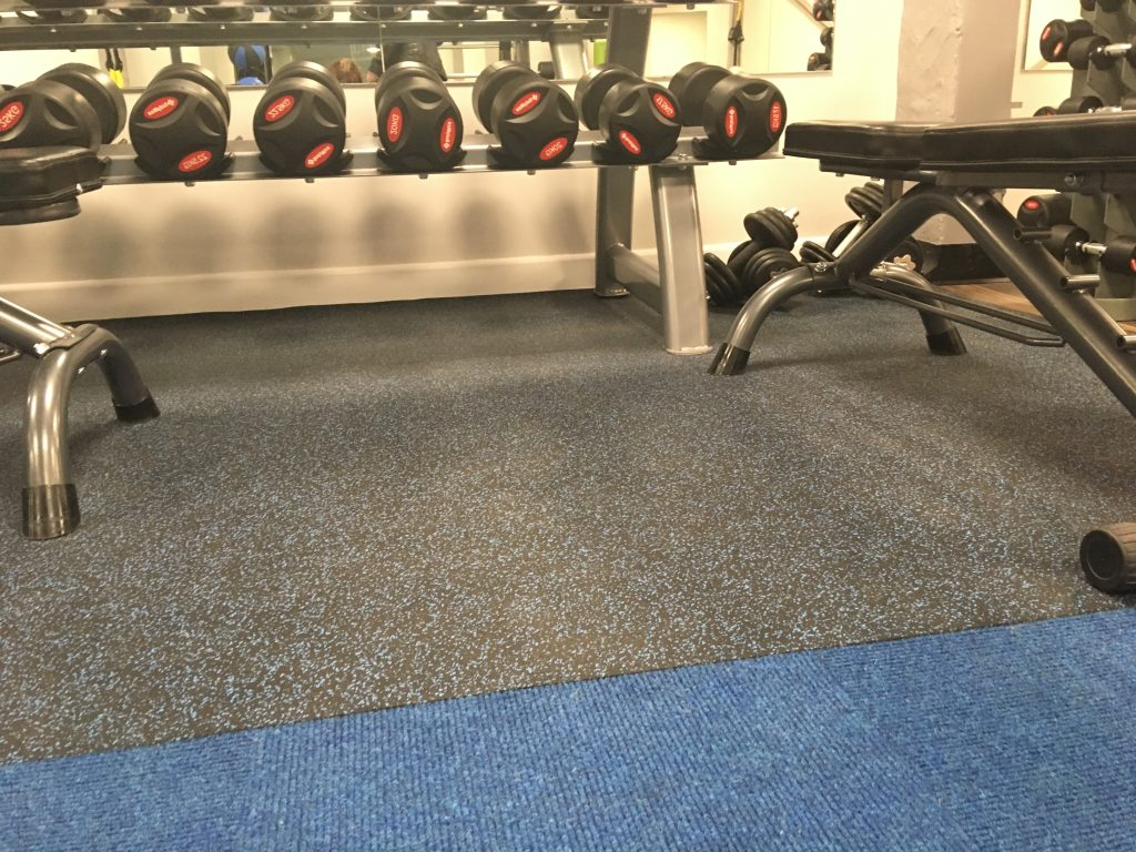 Rubberised sheeting in the weights area