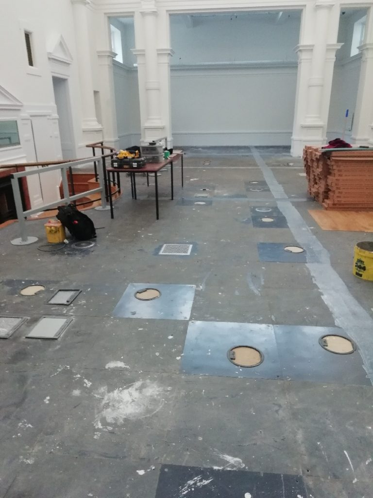 During: preparing the sub-floor at the Counting Hall ready to lay Karndean LooseLay Plank