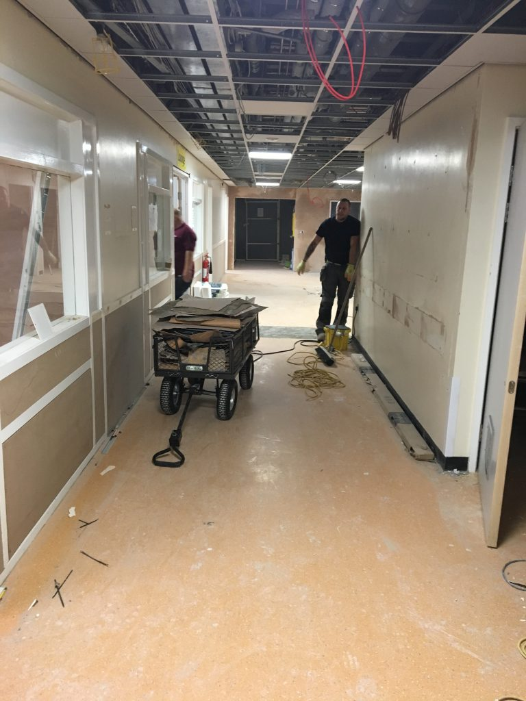 Before: preparing the substrate in the ward corridor at B10
