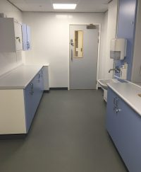 Hygienic cladding and Polysafe Quattro in Slate Haze fitted in the clean utility.