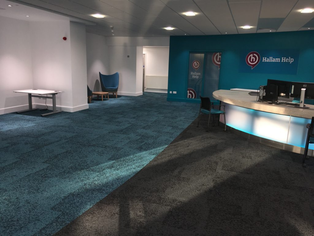'Hallam Help' at the Owen Building with new Burmatex Rainfall carpet tiles installed by A Cumberlidge