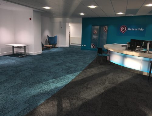 Rainfall carpet tiles transform 'Hallam Help'