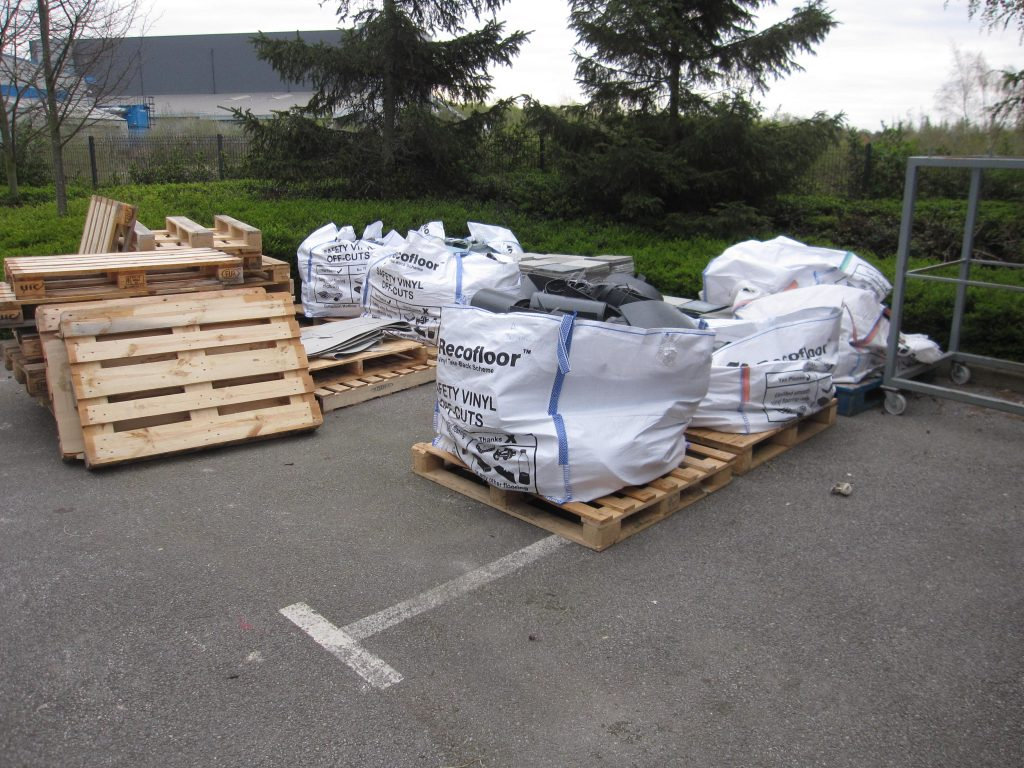 Recofloor Recycling Scheme: bulk bags of uplifted vinyl, off-cuts and waste vinyl ready for collection