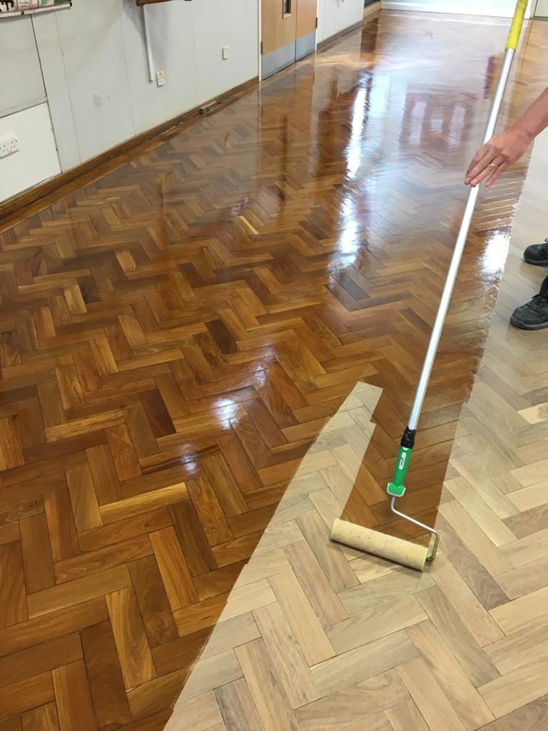 Danny and Mick from A Cumberlidge applying the Treatex Hardwood Oil